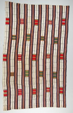 """British Museum Af1934,0307.163 One of a group of cloths collected by Beving in """"Quittah"""" or Keta in the Volta region in the late C19th that raise questions about the layout of at least some early Ewe textiles."""