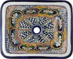 """Rectangular Talavera Sink """"Hand Crafted"""" - A rectangular colonial talavera bathroom sinks are hand crafted in Mexico. The sink pattern in - Rustic Bathroom Sinks, Rustic Bathroom Designs, Bathroom Styling, Bathroom Ideas, Living Room Decor Traditional, Traditional Decor, Shirt Diy, Sink Design, Rustic Style"""