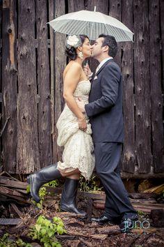 Bride in rain boot! My rainy wedding at Auberge des Gallant - by Juno Photo