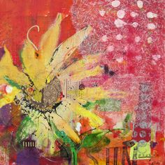 "Mixed Media Flowers | Flower, mixed media on canvas by Kellie Day, 24"" x 24"""