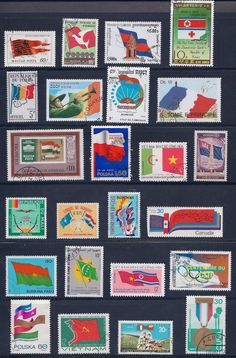 Vintage Stamps  International Flags 2A  lot of by BessiesVintage