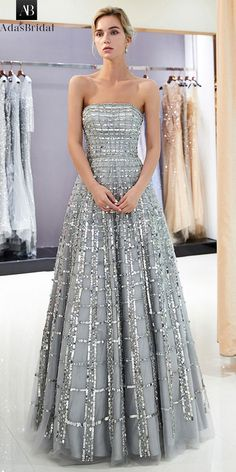 Eye-Catching sequin lace strapless neckline a-line prom dress robe de bal, haute Sequin Evening Dresses, Long Prom Gowns, Prom Dresses For Sale, Evening Gowns, Strapless Dress Formal, Wedding Dresses, Maxi Dresses, Short Dresses, Prom Long