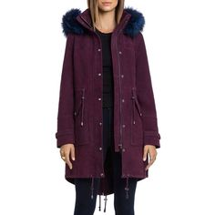 Bagatelle. city Hooded Suede Parka with Fur Trim (101.765 RUB) ❤ liked on Polyvore featuring outerwear, coats, chianti, parka coat, suede leather coat, fur trim hooded coat, hooded coat and fur trimmed parka