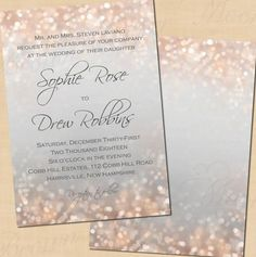 Pink shimmer bokeh dances across these soft gray invitations. These invitations are designed to coordinate with all of the Gray and Blush Shimmer