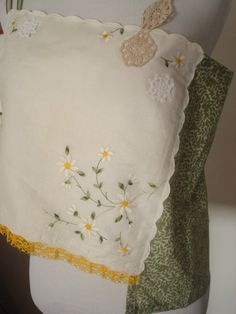Green/Yellow/Embroidered/Flowers/Switzerland/Lacy/Handkerchief by AjasPlace