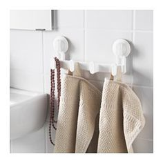 IKEA - STUGVIK, Towel rack with 4 knobs, , The suction cup grips smooth surfaces.