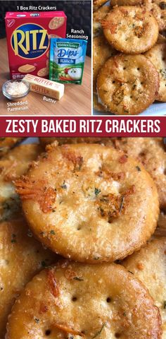 Zesty Baked Ritz Crackers Take a box of Ritz crackers and turn it from boring to addicting! These are an easy snack idea or party appetizer. Serve them with cheese and deli meat-- delish! Super easy and cheap, too. Kids and adults love them. Snacks Für Party, Lunch Snacks, Savory Snacks, Clean Eating Snacks, Healthy Snacks, Healthy Recipes, Healthy Sweets, Party Favors, Vegetarian Recipes