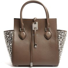 Michael Kors Elephant Grey Miranda Structured Tote ($1,499) ❤ liked on Polyvore featuring bags, handbags, tote bags, purses, leather man bag, michael kors handbags, purse tote, genuine leather tote and leather tote
