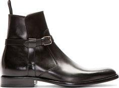 Saint Laurent - Black Leather Harness Ankle Boot