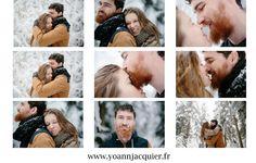 séance engagement, love session, couple, engagement session, mariage, forêt, sapin, neige, baiser, amoureux,