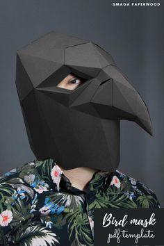 Paper bird mask. Bor halloween costume idea. Printable papercraft mask by SmagaPaperwood #birdmask #birdpapercraft #halloweenmask #maskdesign #maskidea #halloweenmask #halloweencostumeideas #costumeideas #maskprintable #masktemplate #diymask #diycrafts