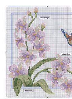 This Pin was discovered by Shi Seed Bead Patterns, Beading Patterns, Cross Stitch Patterns, Butterfly Cross Stitch, Cross Stitch Flowers, Cross Stitch Pillow, Filet Crochet, Cross Stitching, Orchids