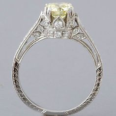 Antique Edwardian Style Platinum 'Fancy Light Yellow' Diamond Engagement Ring