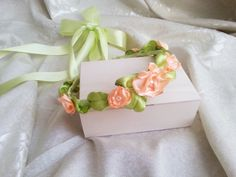 Wedding CROWN/WREATH hand made silk flower faux pearls delicate green peach for Bride/Braid Maid/fFlowergirl - pinned by pin4etsy.com