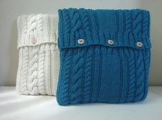 Knitting pattern cushion cover with cables pattern pillow