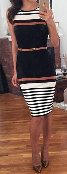Love this dress. I have no bust so I love how high it comes up and the busy stripes