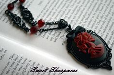 Black and red Gothic Lolita cameo necklace    www.etsy.com/shop/SweetSharpness