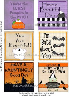It's Written on the Wall: Finally! 24 Halloween Lunchbox Notes + 12 New Everyday Notes Are Available- FREE downloads