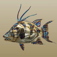 Metal Fish Art, Stainless Steel Sealife Sculptures, Metallic Fish Sculptures and Nautical Fish Art Metal Tree Wall Art, Scrap Metal Art, Metal Artwork, Metal Art Sculpture, Fish Sculpture, Art Sculptures, Fish Wall Art, Fish Art, Metal Fish