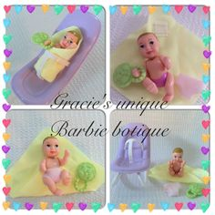 Barbie Happy Family Tiny Baby Nikki Lot Toy Rattle, Diaper, Bouncy Seat, Blanket