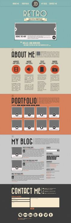 Retro Portfolio PSD Template #photoshop #templates #free