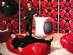 1970s decor, bean bags, shag rugs and circular TV's