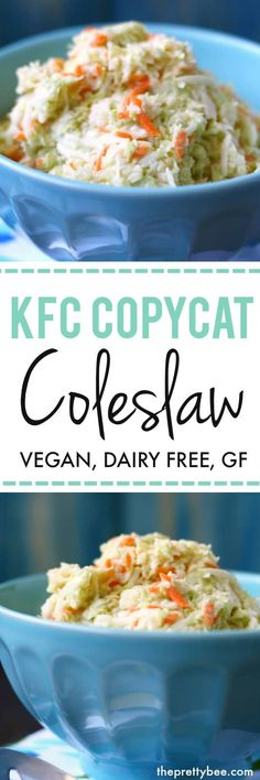 Use vegan mayo. Finely chopped cabbage and a creamy, zesty dressing make this vegan KFC copycat coleslaw recipe a big hit at any party! Kfc Coleslaw, Vegan Coleslaw, Coleslaw Sandwich, Sonny's Coleslaw Recipe, Creamy Coleslaw, Delicious Vegan Recipes, Vegetarian Recipes, Healthy Recepies, Yummy Food