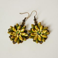 """earrings handmade jewelry """"Green flowers"""" polymer clay free shipping #etsy  #gifts"""
