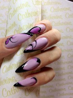 Luv the purple & black color combo but I hate sharp nails! Get Nails, Fancy Nails, Trendy Nails, Hair And Nails, Pink Black Nails, Purple Nails, Fabulous Nails, Gorgeous Nails, Latest Nail Art
