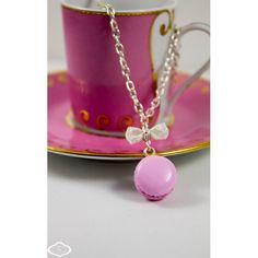 "Collier ""Macaron"" grenadine Bijoux gourmands A l'heure du goûter®.  www.a-l-heure-du-gouter.com"