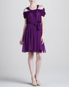 Ruched Chiffon Dress by Zac Posen at Neiman Marcus. Love the swingy material!