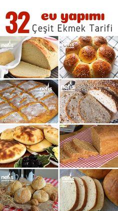 Ekmek tarifleri, tamamı ev yapımı ve hepsi denenmiş! Tam ölçülü, tutma garantili 32 farklı ekmek tarifi fotoğraflı yapılış aşamalarıyla tek tıkla mutfağınızda! Turkish Kitchen, Camembert Cheese, Muffin, Food And Drink, Favorite Recipes, Cookies, Dinner, Breakfast, Ethnic Recipes