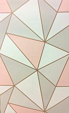 Apex Geometric Rose Gold Girls Bedroom Wallpaper, Teen Wallpaper, Funky Wallpaper, Girl Bedroom Walls, Teen Girl Bedrooms, Room Ideas Bedroom, Girl Room, Gold Luxury Wallpaper, Rose Gold Wallpaper