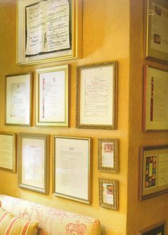 If I'm at a restaurant for a special occasion - whether it's a birthday, an anniversary, or even an important meeting, I'll have the chef & whoever we're dining with sign a menu, which I frame and hang on our kitchen wall. It's a great way to have a memento of that special time, and makes the wall come alive with memories