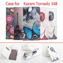 5 Styles High Quality Painted Phone Case For Kazam Tornado 348 Leather Case Flip Cover for Kazam Tornado348 Case Phone Cover