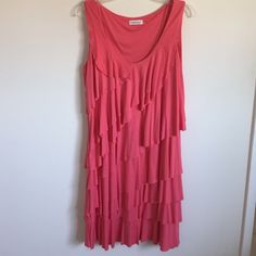 Tiered sundress Beautiful flouncy sundress-gorgeous Coral color. Size 14. 37 inches shoulder to hem. The Cotten blend material drapes well for a very flattering fit! Calvin Klein Dresses