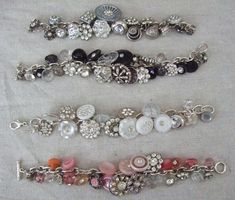 a bracelet made with vintage buttons, rings, and beads.