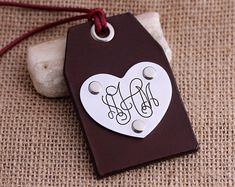 Personalized Leather Luggage Tags  Handcraft by aimeehandmade