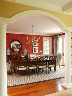 Red Dining Room- Beach Glass Interior Designs