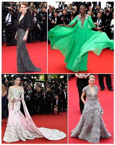 Cannes 2015 red carpet.   1) Julianne Moore in Armani.  2) Lupita Nyong'o in Gucci.  3) Fan Bingbing in Ralph & Russo.  4) Naomi Watts in Elie Saab.