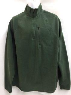 LL Bean Men's 1/4 Zip Front Pullover Fleece Top L Green #LLBean #ZipFrontFleece