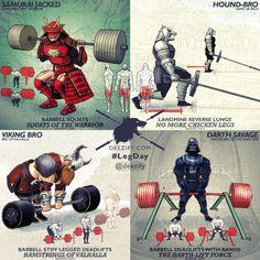 leg day exercises - samurai, the hound, viking, spawn, darth vader