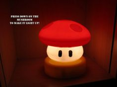 Super Mario fans, check this out. It's a night light that looks just like the mushroom power up. Press down on it to turn it on or off.