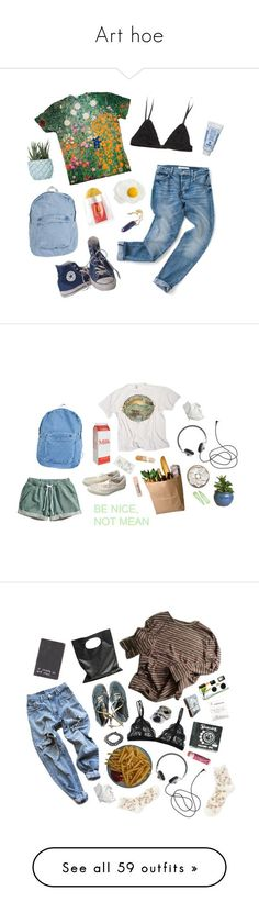 """Art hoe"" by foreverrashley ❤ liked on Polyvore featuring Converse, Sisley, Chen Chen & Kai Williams, American Apparel, H&M, Cheap Monday, Vans, Levi's, Chapstick and Falke"
