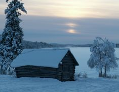 Typical Tornio River Valley snowscape in Pello in Lapland