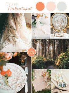 Persimmon, Peach, and Aqua   6 Classic Fall Wedding Palettes