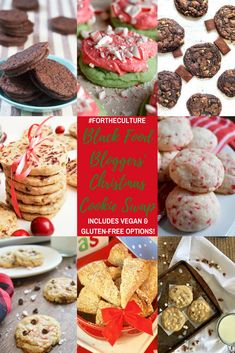 A virtual Christmas cookie swap with everything from mint to spiced cookies--including vegan and gluten-free options! Roundup by Dash of Jazz and nine other black food bloggers. via @dashofjazzblog