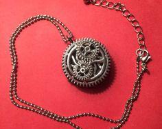 Steampunk Gear Necklace  Brown Suede