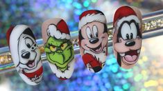 Chistmas Nails, Cute Christmas Nails, Xmas Nails, Christmas Nail Art Designs, Cute Acrylic Nail Designs, Gel Nail Designs, Cartoon Nail Designs, Disney Acrylic Nails, Mickey Nails