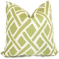 Kravet Green Trellis Decorative Pillow Cover 18x18 by PopOColor, $40.00